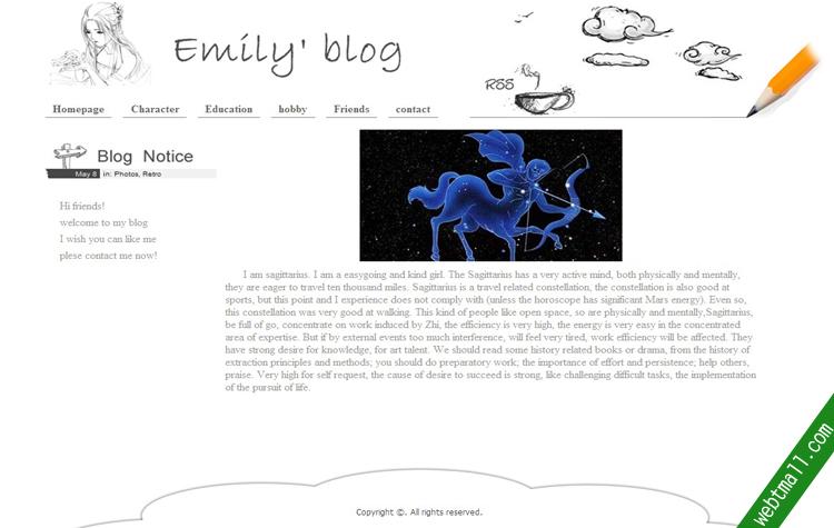 英文个人网页制作作业成品